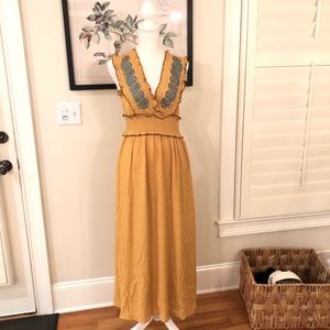 Mystree Mustard embroidered front maxi dress